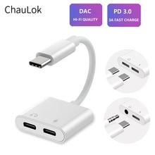 Dual USB Typ C Splitter DAC 2 in 1 Audio Schnelle Ladung Typ C zu 3,5mm Kopfhörer Adapter für google Pixel Huawei Xiaomi Oneplus