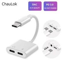 Dual USB di Tipo C Splitter DAC 2 in 1 Audio Tipo di Carica Veloce C a 3.5mm Per Cuffie Adattatore per google Pixel Huawei Xiaomi Oneplus