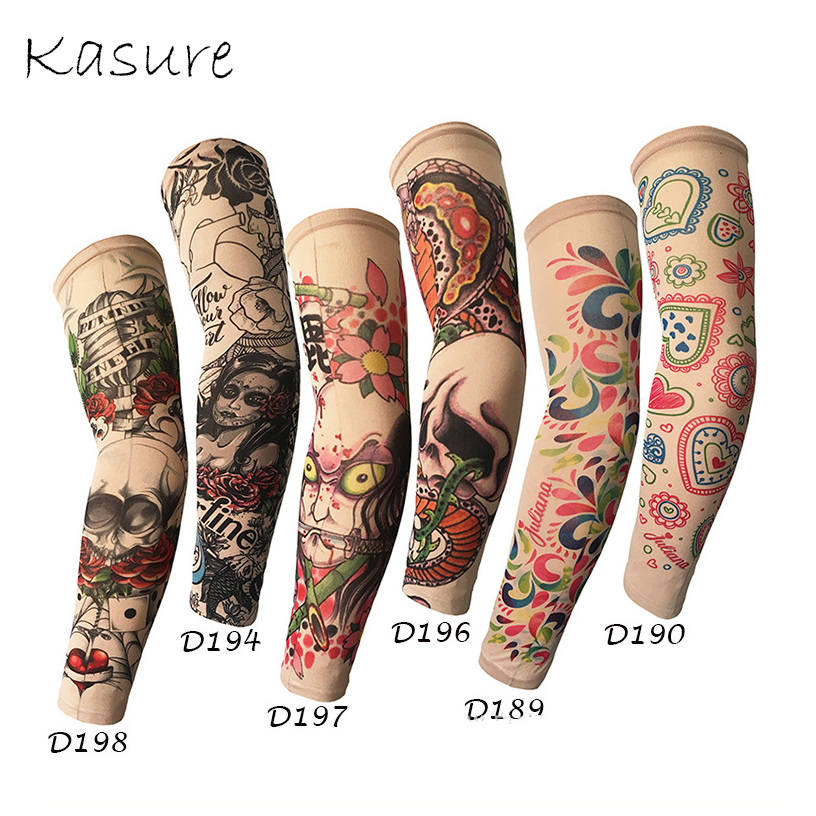 Kasure 1pc Outdoor Cycling Printed Arm Sleeves Fake Tattoo Unisex Arm UV Protection Hip Hop Punk Slip On Tattoo Sunscreen Cuff