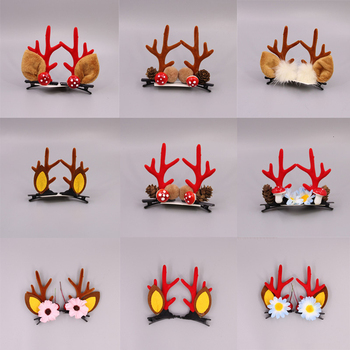 Christmas New Cute Antler Hair Clips Festival Style Red Antler Headband Moose Mushroom Forest Nut Hair Accessories Hairpins headwear forest antler headband fashion christmas hair accessories reindeer christmas headband reindeer headband deer antlers