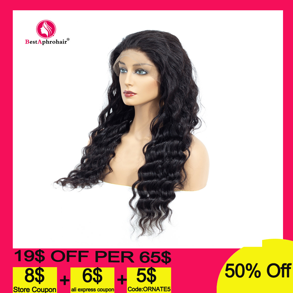 360 Deep Wave Lace Frontal Human Hair Wigs Pre Plucked With Baby Hair Brazilian Remy Human Hair Wigs 10-24inch Natural Color