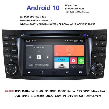 Car Multimedia Player Two Din Android 10 DVD Automotivo For Mercedes/Benz/E-Class/W211/E200/E300 GPS Radio FMAM USB DVR RDS DTV