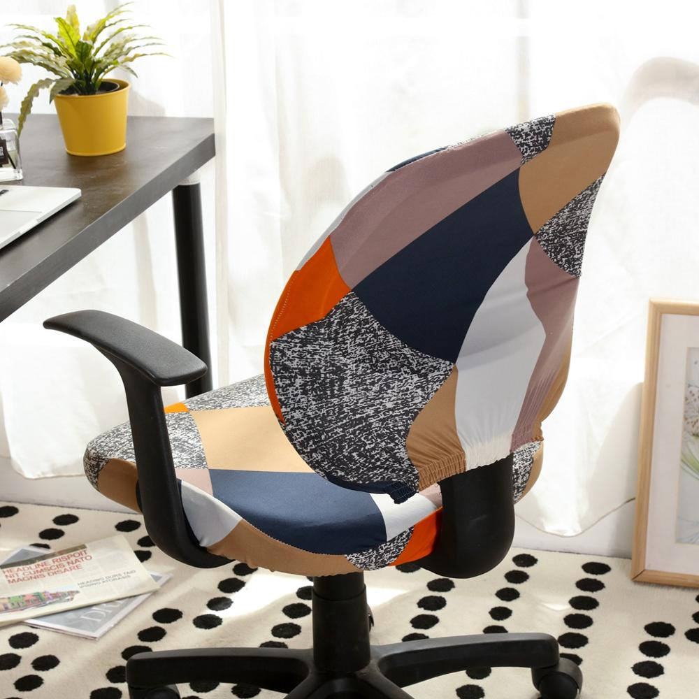 Printed Computer Chair Cover Spandex Office Chair Cover 2 Pieces Set For Chair Back And Base