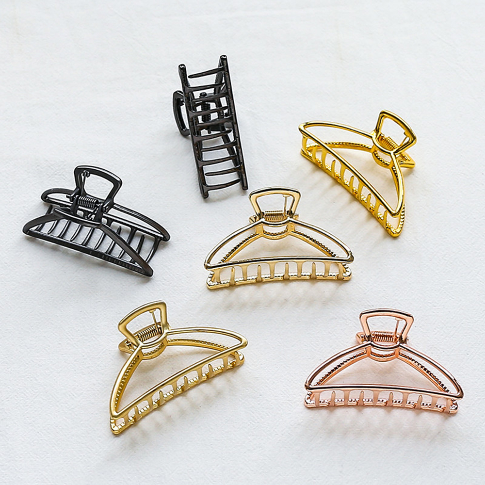 2019 Women Girls Geometric Hair Claw Clamps Hair Crab Moon Shape Hair Clip Claws Solid Color Accessories Hairpin Large/Mini Size|Hair Clips & Pins| - AliExpress