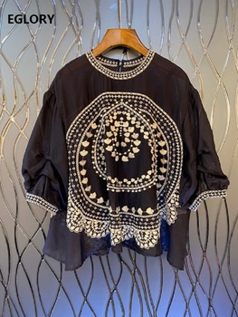 2020 Spring Fashion Blouses Women Lurex Embroidery Beading Deco 3/4 Sleeve Casual Loose Tops Shirt Dark Blue Blouses Female фото