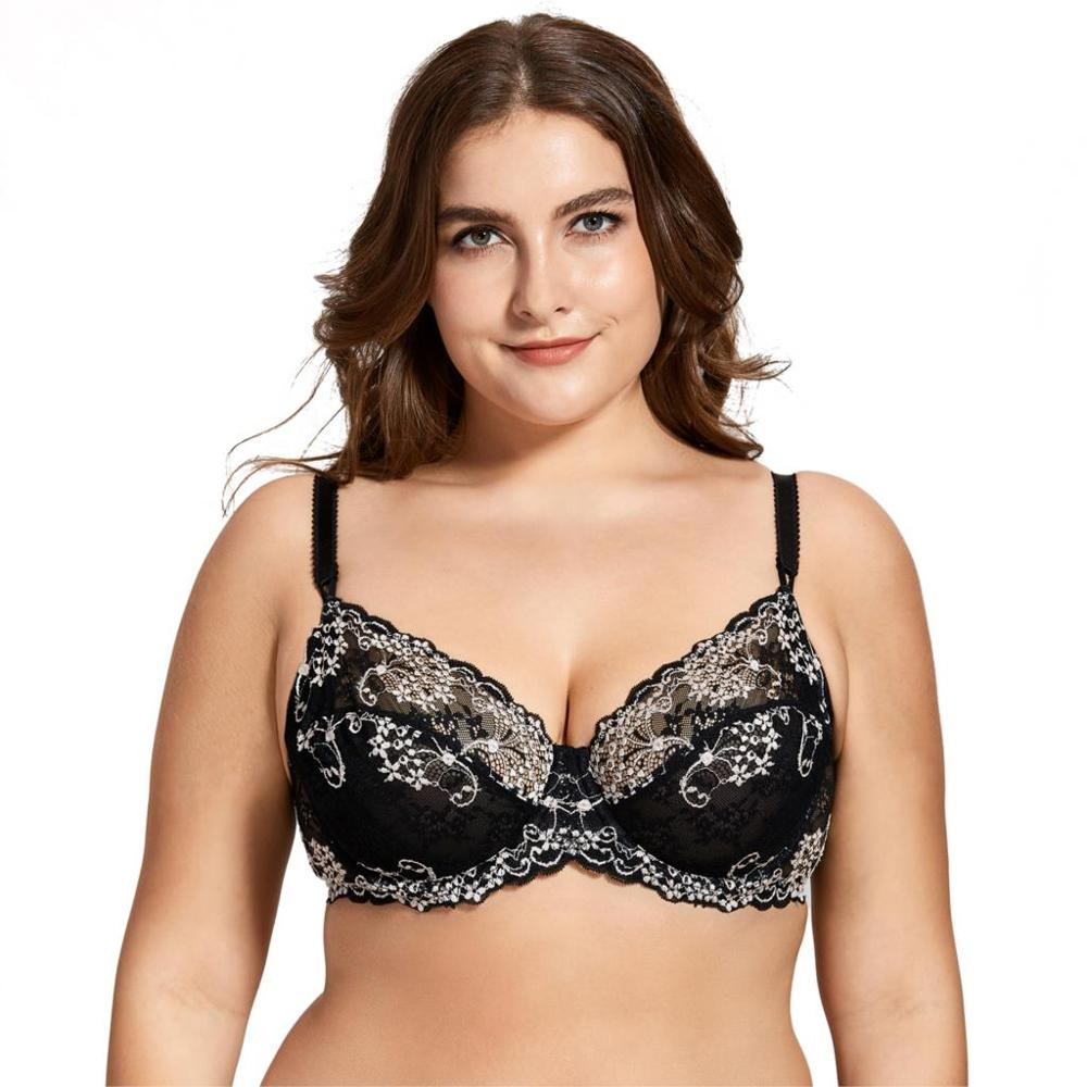Women/'s Floral Lace Underwired Non Padding Breathable Balconette Bra