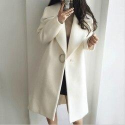 Mazefeng Casacos de Inverno Elegante Mistura De Lã Mulheres Longas Da Forma Coreana Minimalista Do Vintage Casaco De Lã de Camelo Outwear Oversize
