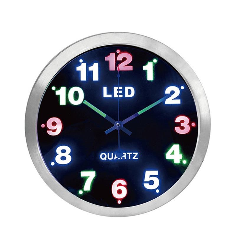 Nouveau 12 pouces simple numérique métal mur LED horloge mode créative quartz horloge murale salon horloge muet lumineux chambre horloge