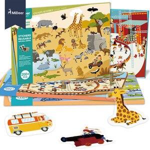 Image 3 - MiDeer חדש לשימוש חוזר מדבקות ספר משחק Pad אוסף צעצועים חינוכיים לילדים פאזל מתנה נשלף רקע סצנות
