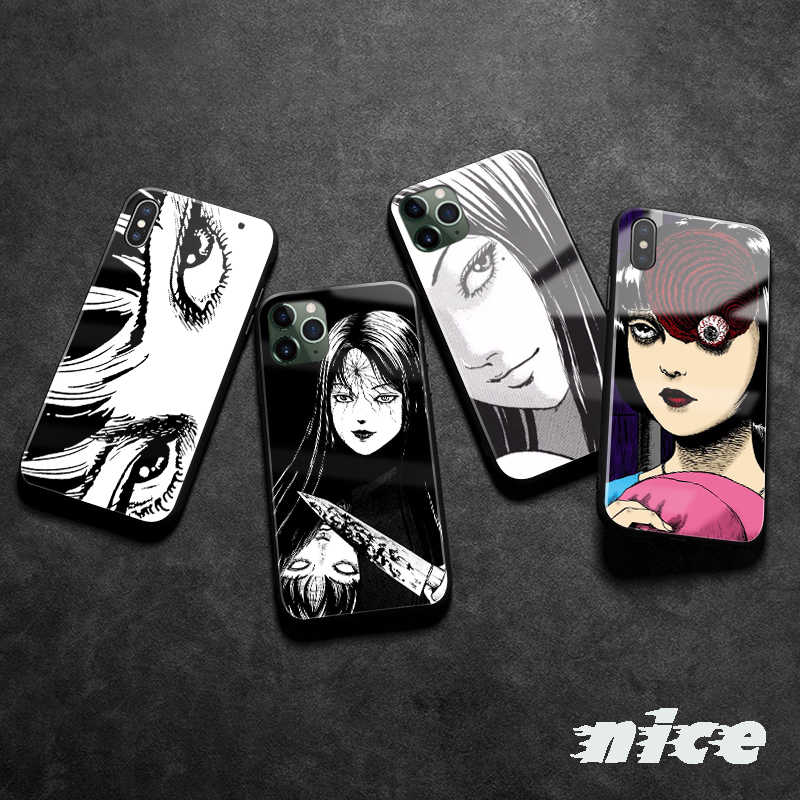 Junji Ito Tees Horror cartoon Für Apple iPhone SE 6 6s 7 8 Plus X XR XS 11 Pro MAX Weiche silikon glas telefon fall shell cover