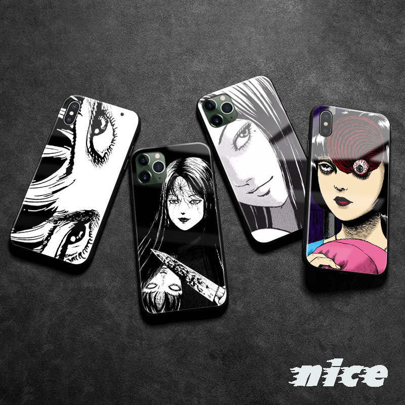 Junji Ito Tees Horror cartoon For Apple iPhone SE 6 6s 7 8 Plus X XR XS 11 Pro MAX Soft silicone glass phone case shell cover(China)