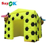 3.5m/11.5ft Inflatable Cube Tent Bee Yellow Tent Cartoon Inflatable Photo Booth with 2 Bees for Event Party Wedding