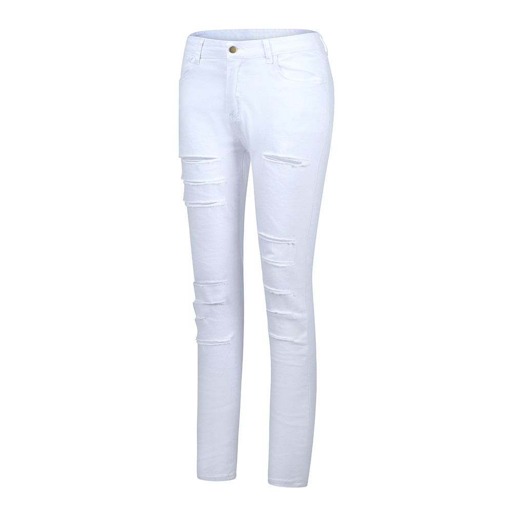 @ Women's Pure Color Hole No Bomb Cultivate Oneself Nine-cent Jeans Women High Waist Jeans Vintage High Waist Jeans Pant