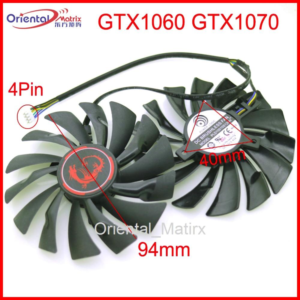 Frete Grátis 2 pçs/lote PLD10010S12HH 95mm 4Pin VGA Ventilador Para MSI GTX1070 GTX1060 Fã Placa Gráfica