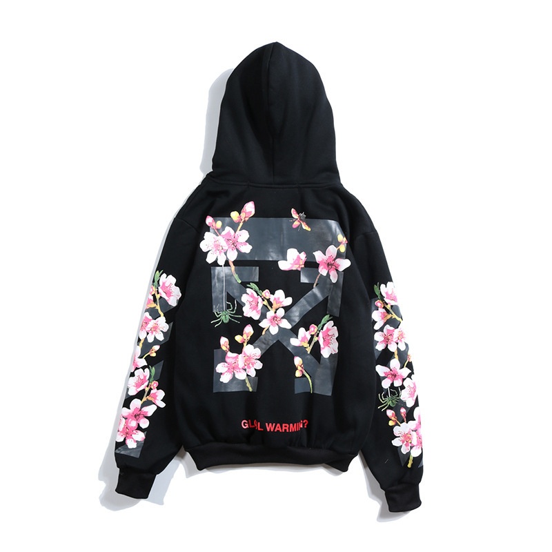 Off W Hoodie Cherry Blossom Printed Pink Men And Women Street Fashion plus Velvet Pullover Arrowhead
