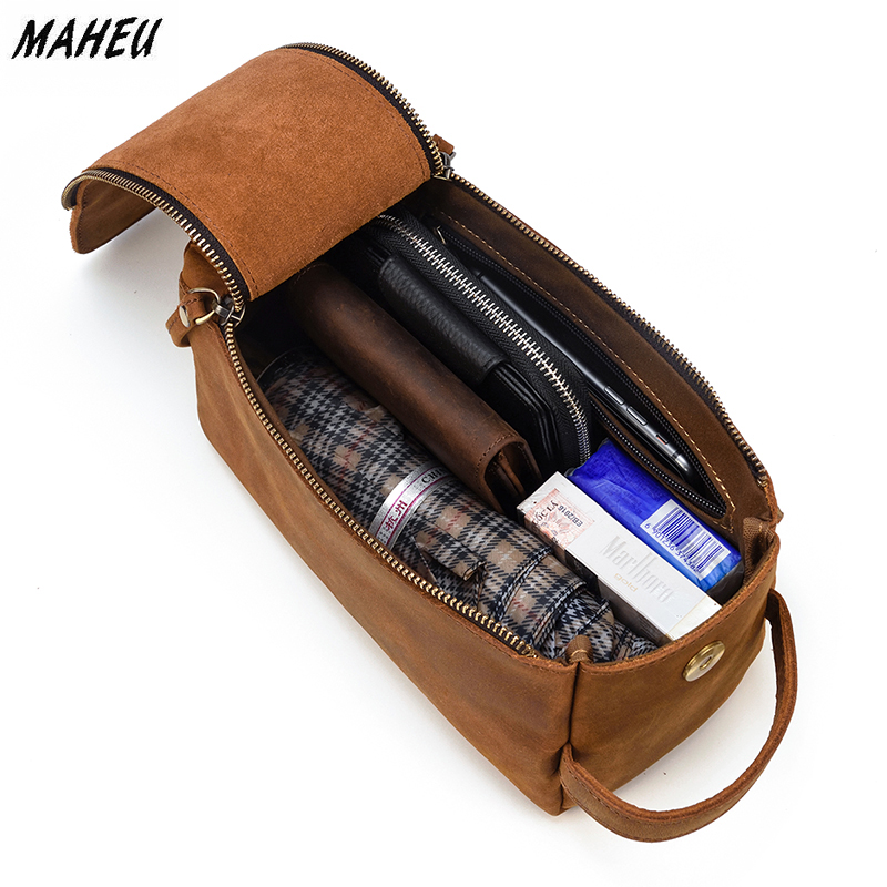 MAHEU Brown men's Genuine Leather Daily Clutch Handbag Travelling Storge Bags For Make Up Umberlla Wallet Large Phone Pounch