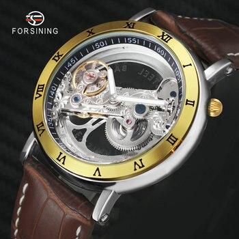 FORSINING Royal Men Golden Bridge Auto Mechanical Watch Japan Carved Movement Genuine Leather Strap Roman Numerals Wristwatch