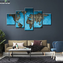 5 piece Abstract Map Family Poster Wall Art Canvas Painting 5 Panel Modular Blue Print Modern Home Decor Picture For Living Room