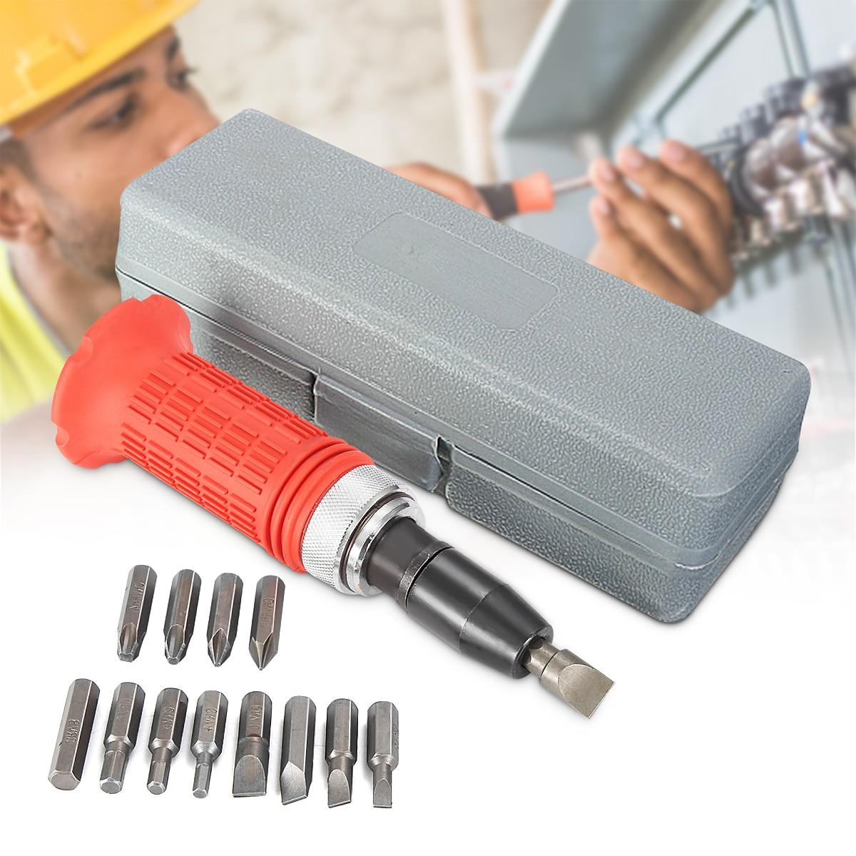 Multi-purpose Impact Screwdriver Set Driver Carbon Steel Multi Bits Hammer Socket Repair Kit Storage Box Screwdriver Head Set