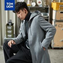 TONLION Wool and Blends Men's Coat Autumn Winter Coat Men with Hood Long Zipper Hooded Winter Jacket Men Black and Gray 2020 New