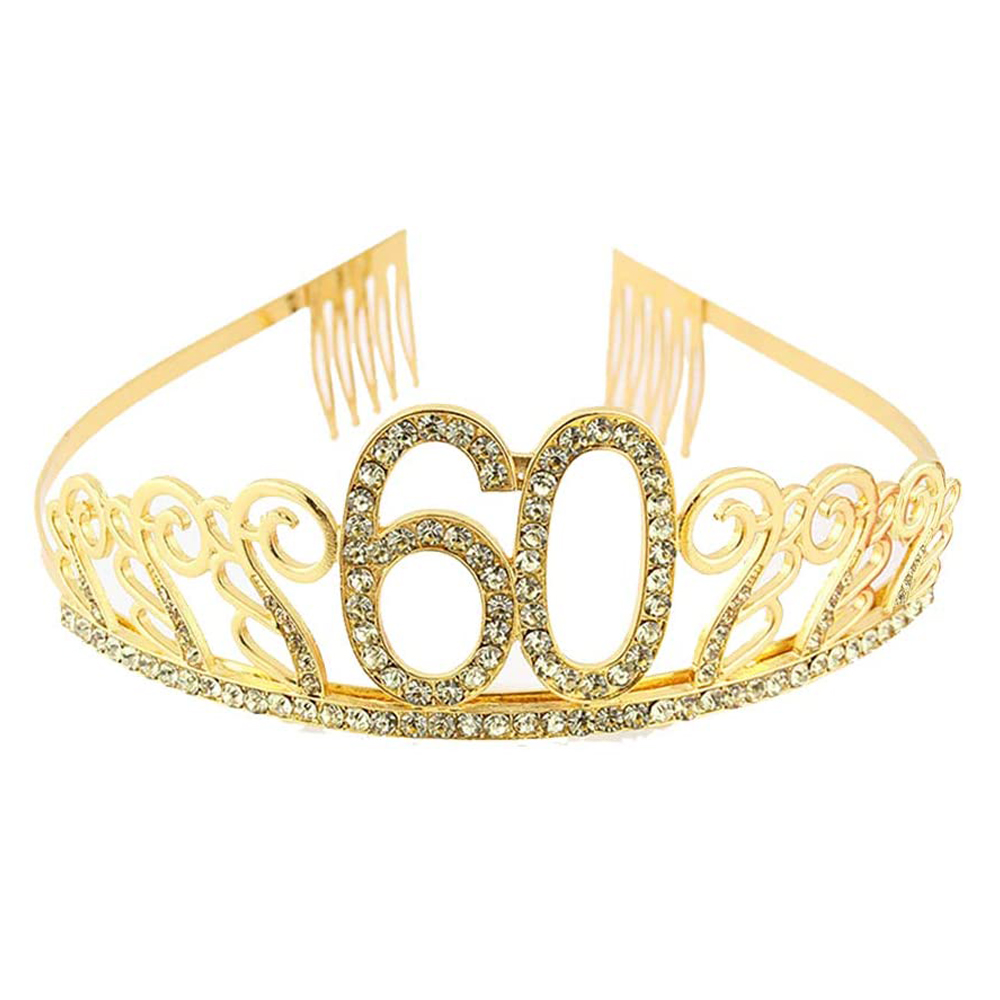 <font><b>Happy</b></font> 60th <font><b>Birthday</b></font> Queen Party Decoration Supplies Favor Gifts For Women Rhinestone Gold <font><b>60</b></font> <font><b>Birthday</b></font> Party Tiara Crown Headband image