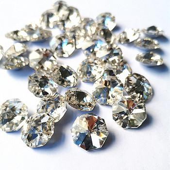 500 sztuk najwyższej jakości 14mm K9 kryształowy ośmiokątny Plated srebrne koraliki w dwóch otworach K9 kryształ lampa i akcesoria Diy koraliki do kurtyny tanie i dobre opinie Kryształowy żyrandol TZCH-0165 k9 crystal Silver Chandelier parts lighting parts beads curtain 500pcs 2 holes