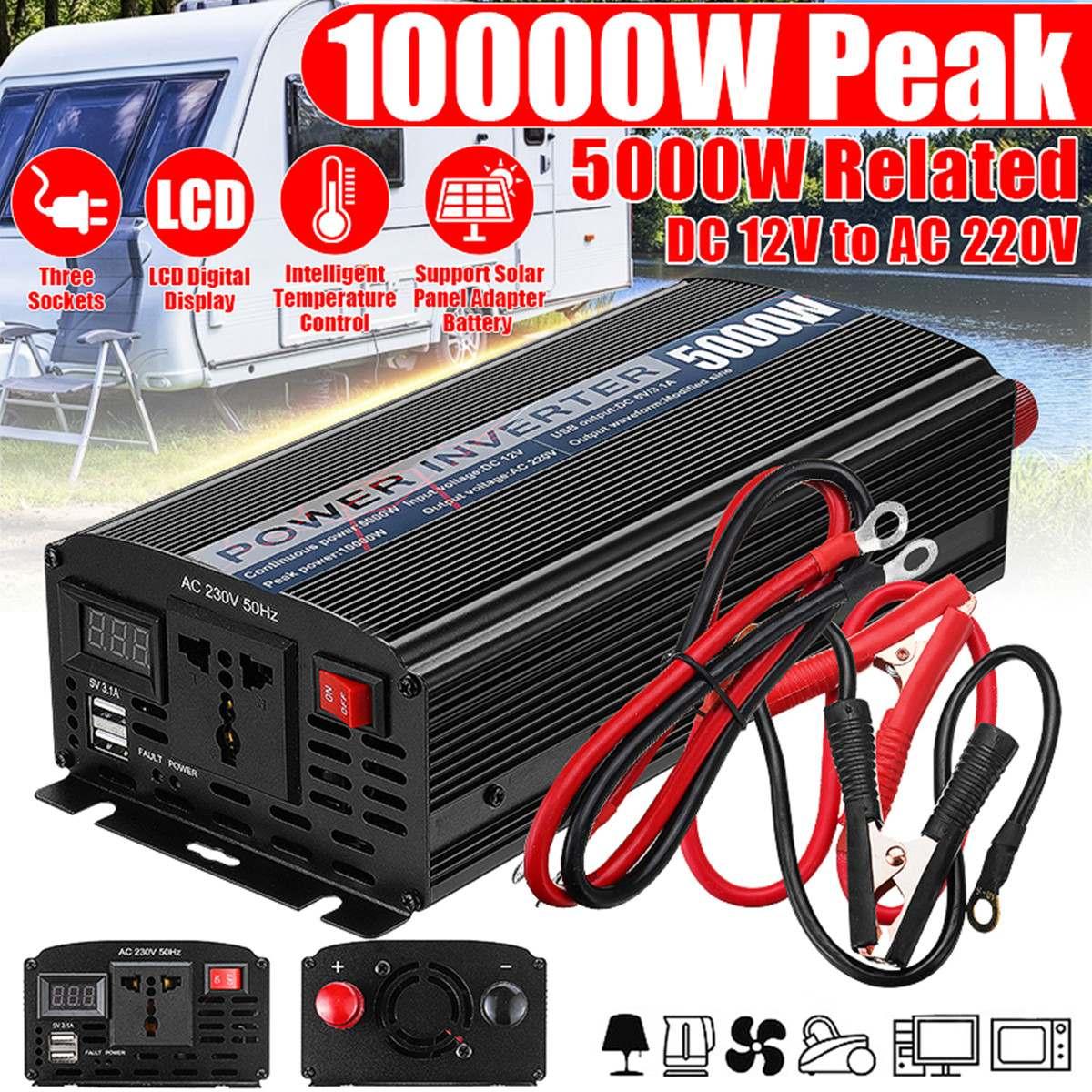 Double USB 10000W DC 12V à AC 220V voiture onduleur chargeur convertisseur adaptateur DC 12 à AC 220 transformateur à onde sinusoïdale modifiée