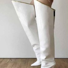 Knee-Boots White Pointed-Toe Winter Woman Irregular Lady Big Gold-Binding Over The Loose
