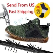 Dropshipping sapatos de trabalho indestrutíveis homem e mulher de aço toe sapatos de segurança ar puncture proof tênis de trabalho respirável sapatos