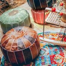 Coussin de siège rond marocain en cuir PU, 55CM, Patchwork artisanal, siège de sol, Hassock, repose-pieds, grand oreiller d'assise non rembourré