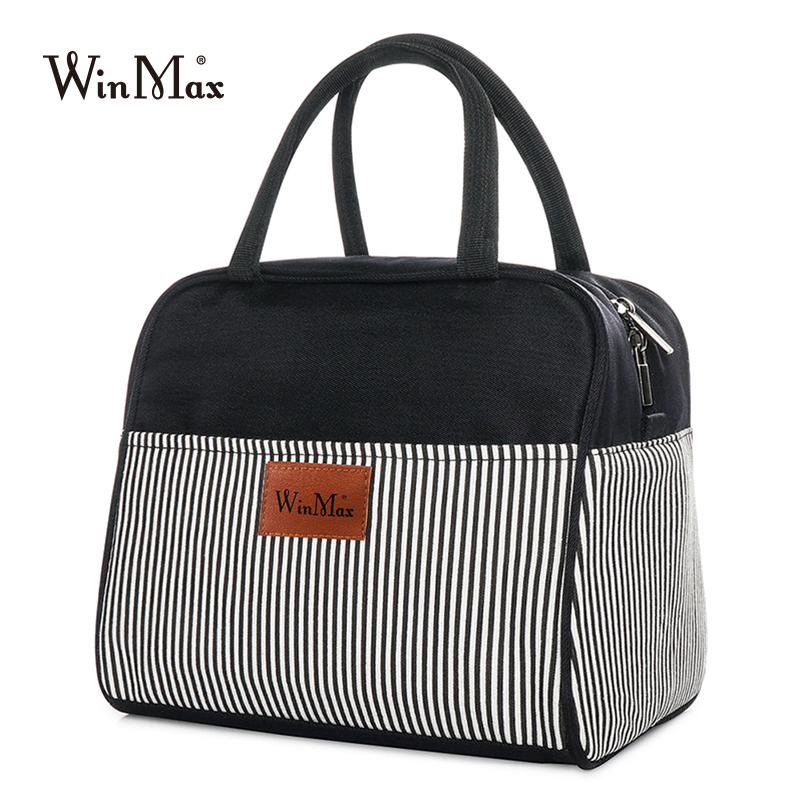 Striped Thick Lunch Bag Cooler Thermal Bag Insulated Keep Food Fresh Lunchbox Picnic Bags For Wome Office Lunch Bento Tote Case