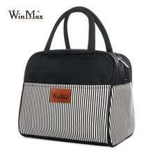 Striped Thick Lunch Bag Cooler Thermal Insulated Keep Food Fresh Lunchbox Picnic Bags For Wome Office Bento Tote Case
