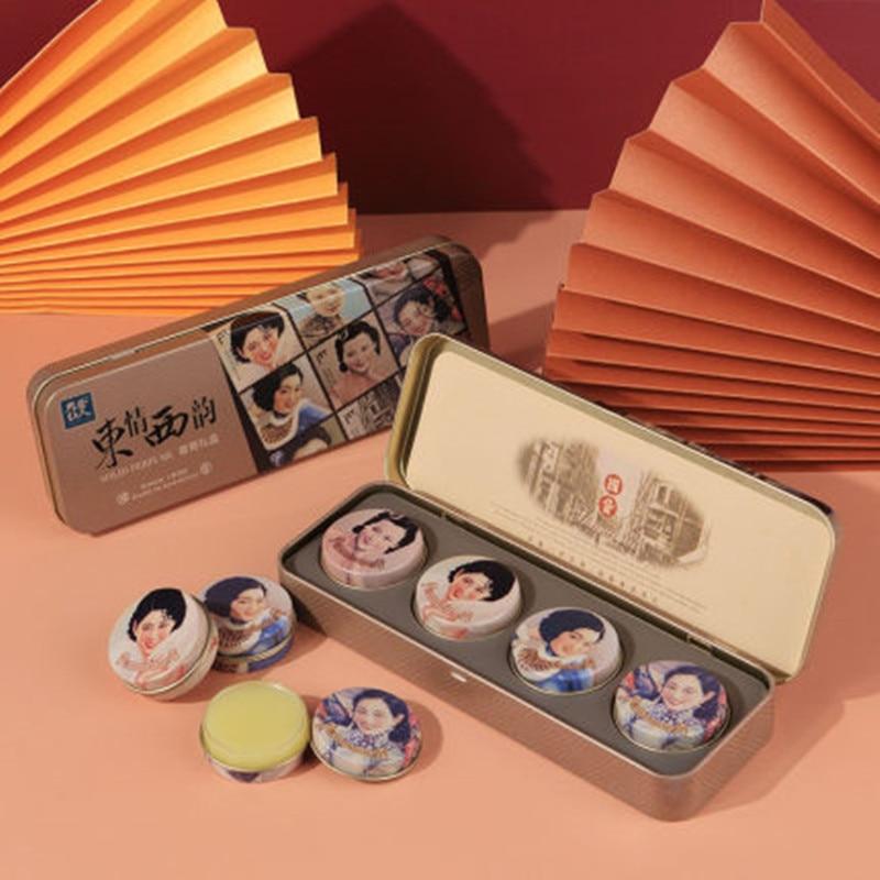 Oriental Woman Balm Gift Box Solid Perfume Light Fragrance Lasting (10g*4/Box) Geranium, Bamboo, Grapefruit, Lavender Solid Balm