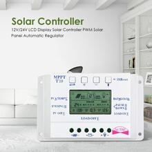 LCD Display 10A MPPT 12V/24V Solar Panel Battery Regulator Charge Controller Adjustable Charge and Discharge Control Parameters