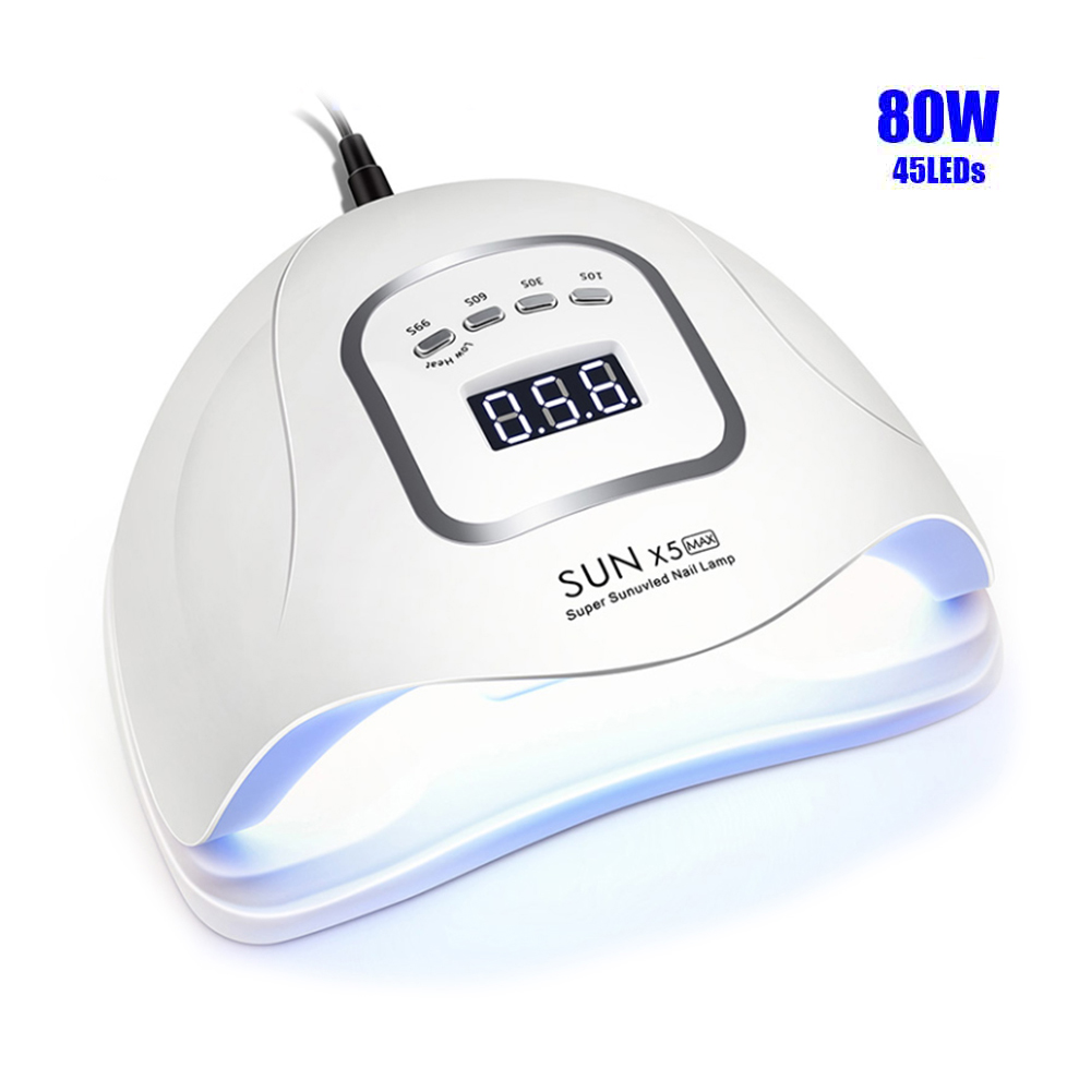 <font><b>80W</b></font> 45pcs <font><b>LEDs</b></font> SUNX5MAX <font><b>UV</b></font> <font><b>Lamp</b></font> <font><b>LED</b></font> Nail Dryer For All Gel Polish Dual Power Quick Drying With Auto Sensor Manicure Salon <font><b>Lamp</b></font> image