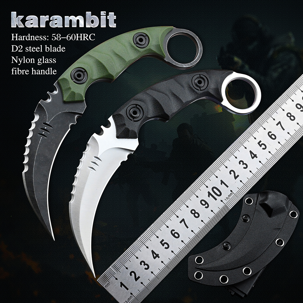 Karambit D2 Steel Fixed Blade Knife Pocket Knives Tool Outdoor Camping Survival Hunting Knife CSGO Tactical Self Defense Weapons