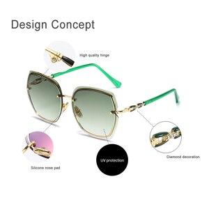 Image 4 - lunette de soleil femme Mode surdimensionné lunettes de soleil femmes 2020 UV400 concepteur sans monture carré lunettes de soleil femme Vintage lunettes de soleil femmes rétro avec boîte Sunglasses Women Miroir Glasses