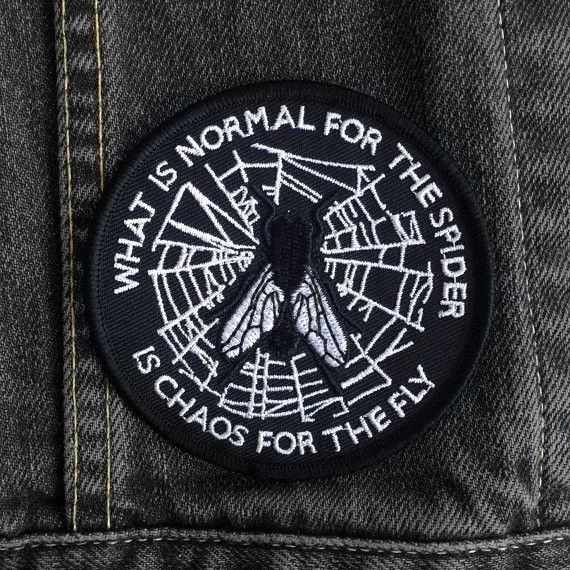 DIY Patch voor Geborduurde Punk Wat Is Normaal Applique Patch voor Denim Jasje Spider Web Applique 82*82mm patches voor Kleding