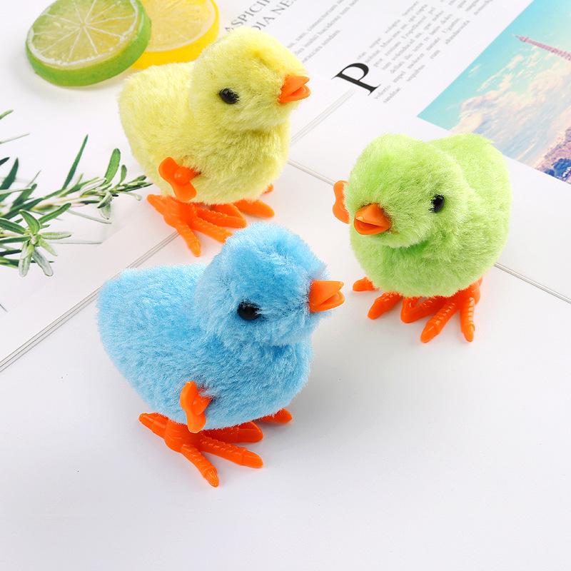 Shang Lian Ji Wind-up Toy Spring Chickens Plush Chickens Cute Toy Baby Children Plush Toys