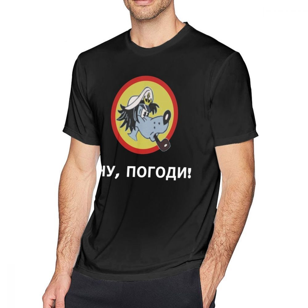 Nu Pogodi T Shirt Nu Pogodi Wolf T-Shirt Mens 100% Cotton Tee Shirt Printed Short Sleeves Beach Plus Size Fun Tshirt