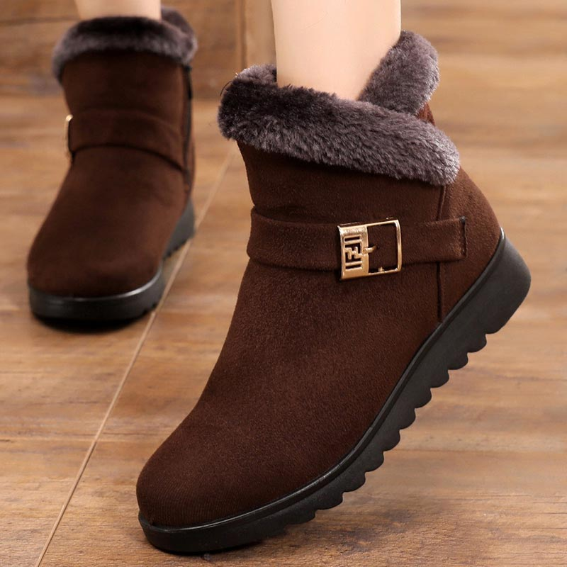 Winter Boots Women 2021 Thick Plush Warm Snow Boots Women Zipper Comfortable Outdoor Ankle Boots Casual Cotton Shoes