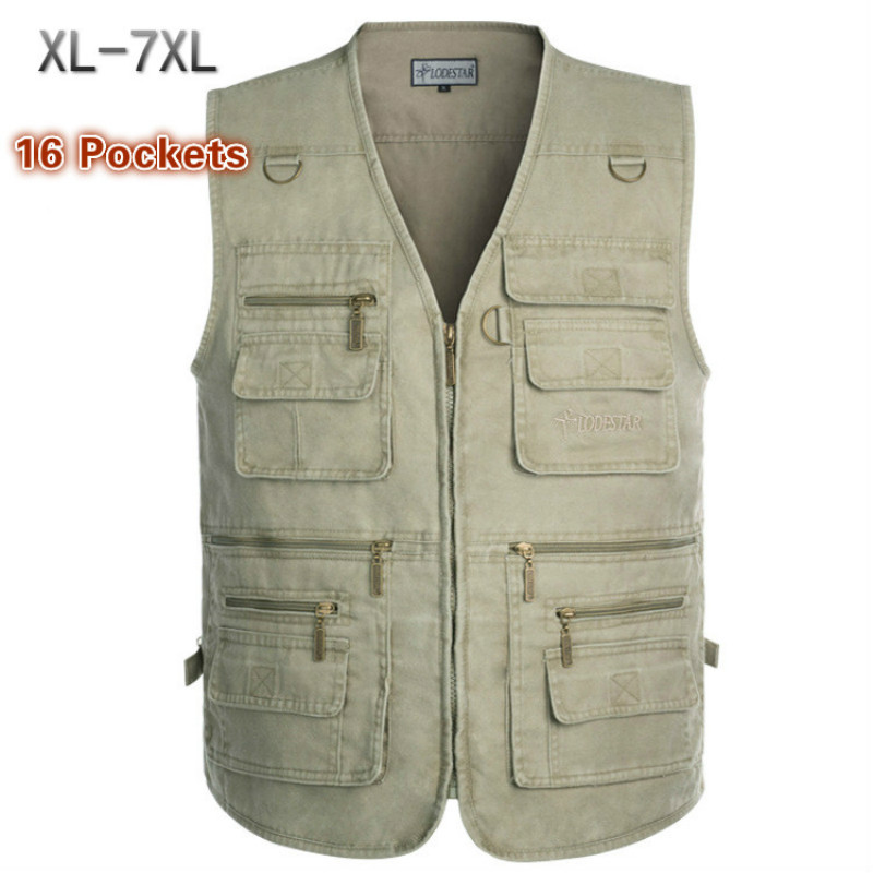16 Pockets Plus Size 7XL Men's Multi-pocket Vest Outdoor Hiking Fishing Photography Vest Loose Cotton Breathable Waistcoat Man
