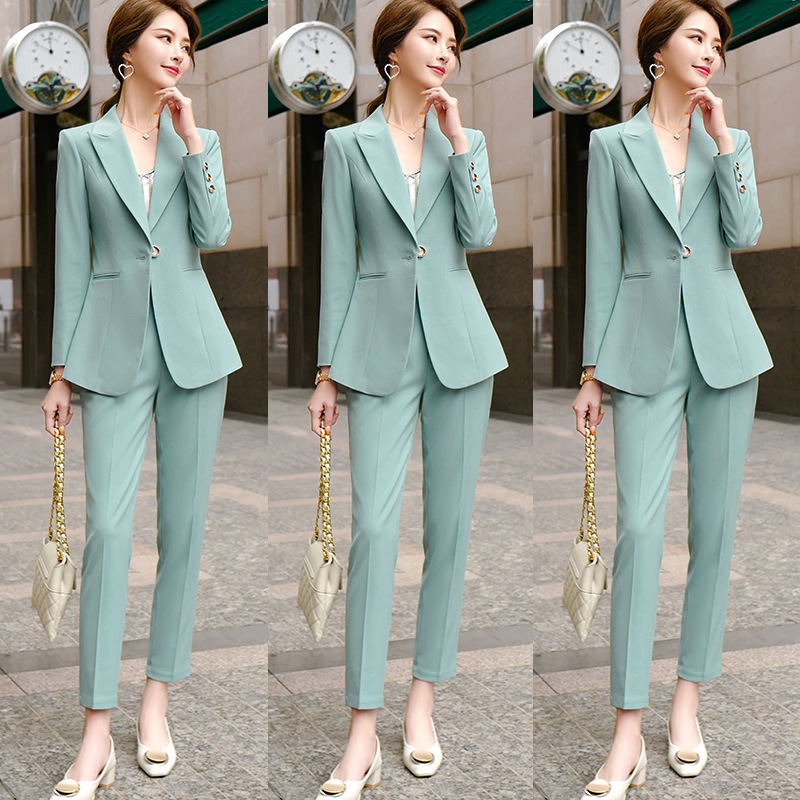 Candy Green Office Work Formal Long Pant Suit Women's Business Lady Uniform 2Piece Set Blazer Trouser Jacket Suits Plus Size 5XL