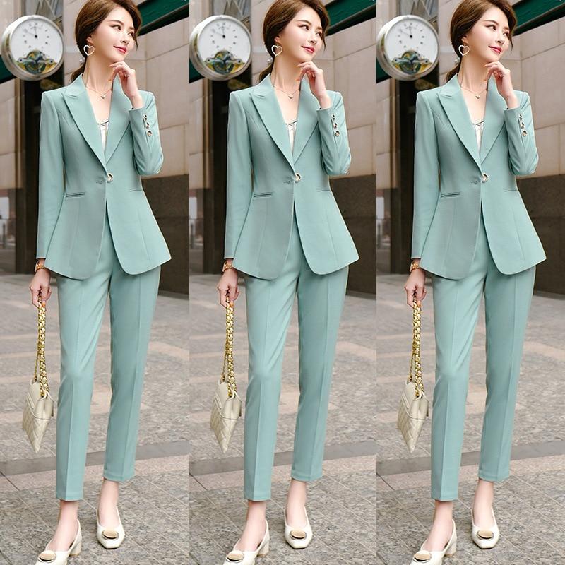 Candy Green Office Work Formal Long Pant Suit Women's Business Lady Uniform 2Piece Set Blazer Trouser Jacket Suits Plus Size 5XL