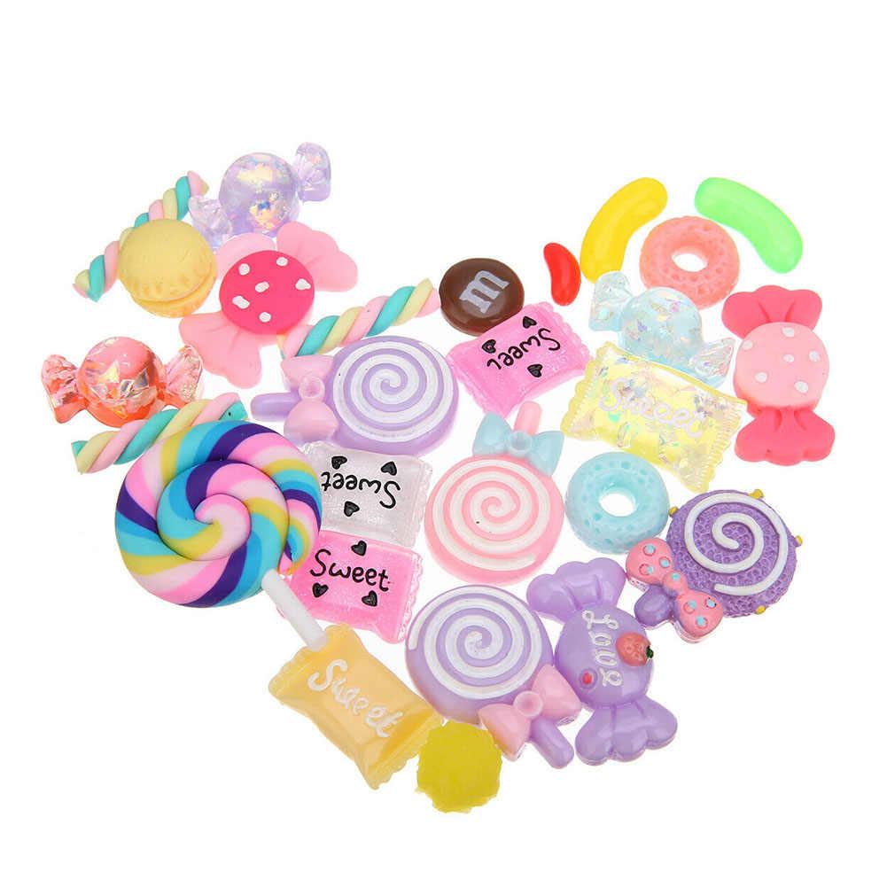 30 piezas de fabricación de dijes de resina de relleno de cuentas de limo manualidades coloridas dulces Flatbacks accesorios DIY Scrapbooking lindo adorno
