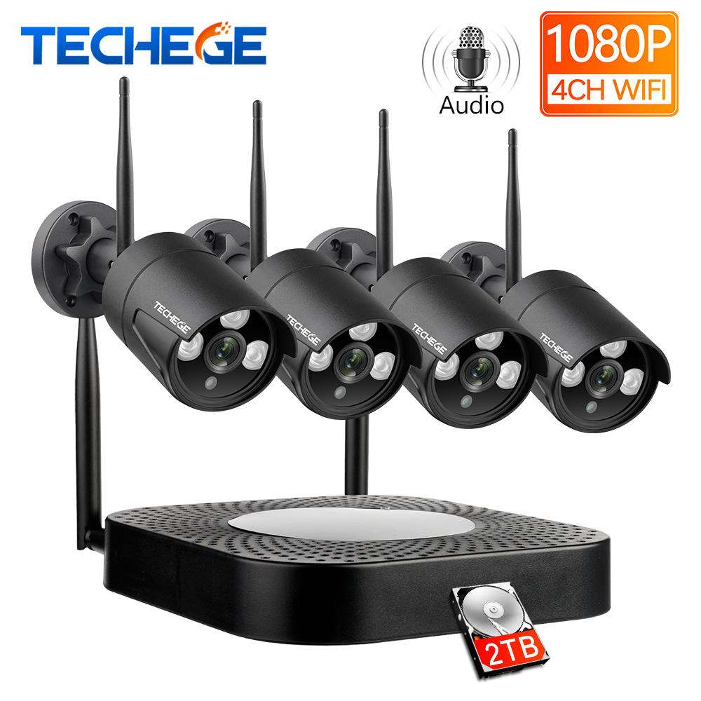 Techege 4CH CCTV sistema 1080P HD Audio Kit NVR inalámbrico Visión Nocturna exterior cámara IP de seguridad WIFI Sistema de CCTV Plug & Play Videoportero VANSOALL, timbre cableado de teléfono, sistema de videoportero, Monitor a Color de 7 pulgadas y cámara HD con liberador de puerta, botón táctil