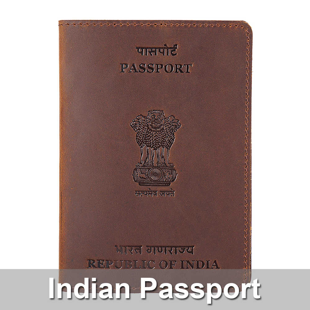 Genuine Leather Indian Passport Cover For India Credit Card Holder Hindustan Passport Case Unisex Hindu Travel Wallet