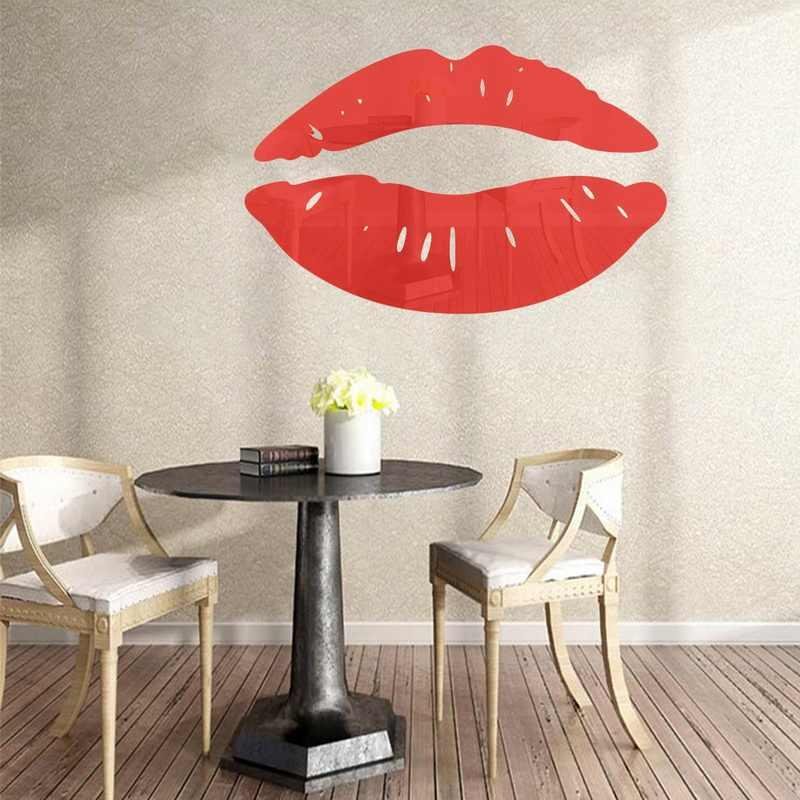 Hot 3d Mirror Lip Makeup Wall Stickers Creative Art Wallpaper Decal Decoration Bathroom Living Room Kitchen Door Home Decor New Aliexpress