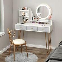 Mesa de vaidade com luz led espelho armários para o quarto gaveta mesa de maquiagem espelho de vaidade mesa nordic móveis