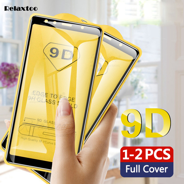 2-1pcs 9D Full Glue Tempered Glass For Samsung Galaxy A5 A7 2017 A9 A6 A8 Plus 2018 screen protector Protective film on a 5 6 7 1